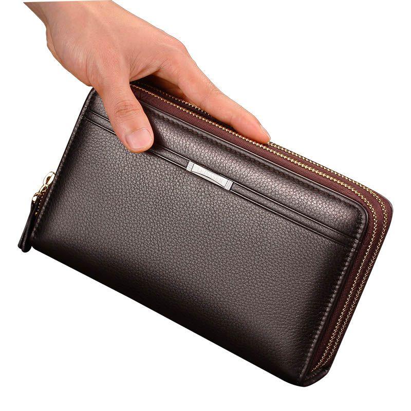 Marke Brieftasche Männer mit Münzfach Lange Doppel-reißverschluss Vintage Geldbörse für Männer Große Männliche Kupplung Visitenkarte Halter Männer brieftaschen