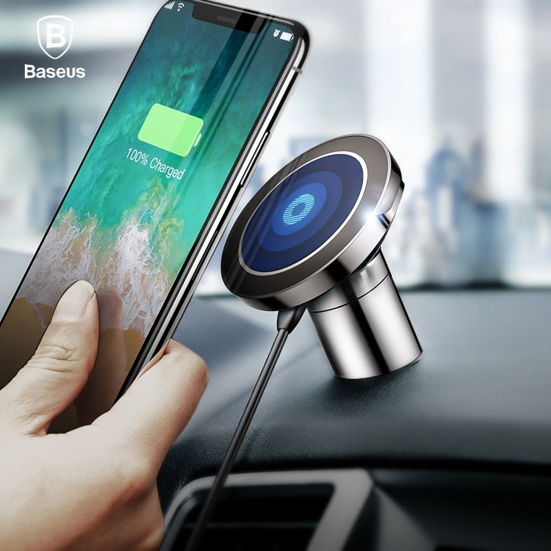 Baseus Qi Wireless Charger Magnetic Car Phone Holder For iPhone X Samsung Stand Holder Wireless Car Charger Mobile Phone Holder