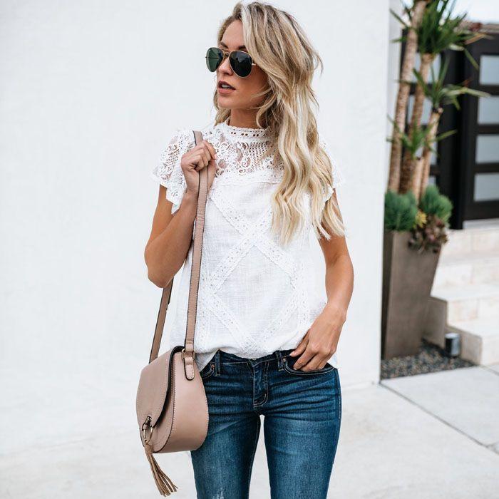 Sexy blanc dentelle Blouse chemise femmes mode à manches courtes femmes Blouses dame Vestidos été évider hauts Blusa