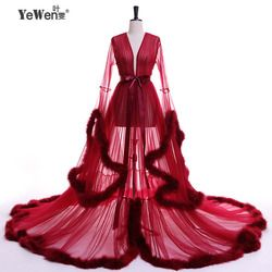 YeWen Vestido De Festa Feather Long Sleeve Tulle Party Evening Dresses 2019 Sexy Burgundy Formal Prom Dress Gown Women Plus Size
