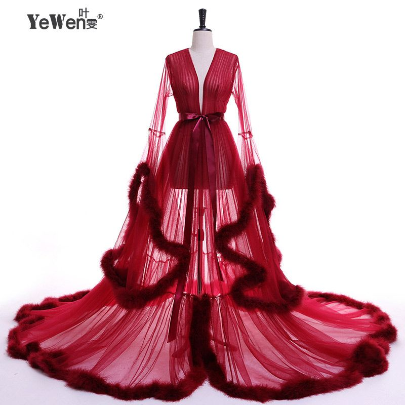 YeWen Vestido de festa Robe De Soiree V Neck Feather Long Sleeve Tulle Party Evening Dresses 2018 Burgundy pink prom dresses