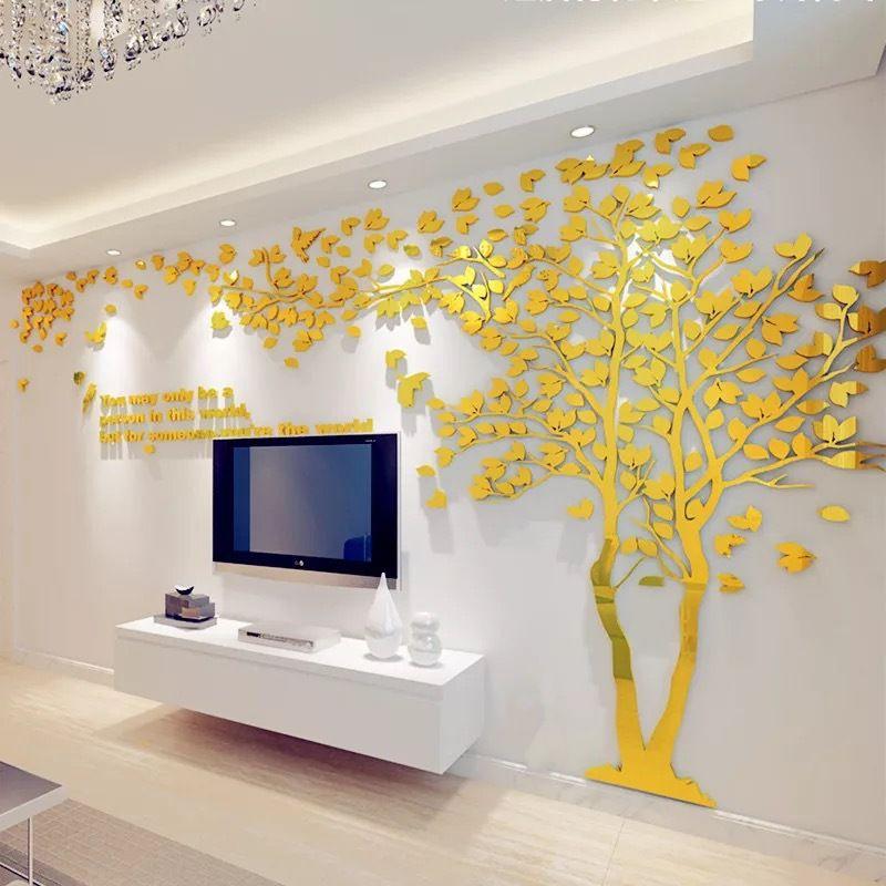 Grande Taille Couple Arbre Miroir Stickers Muraux TV Toile de Fond DIY 3D Acrylique Autocollant Mural Décor À La Maison Salon Chambre Stickers Muraux