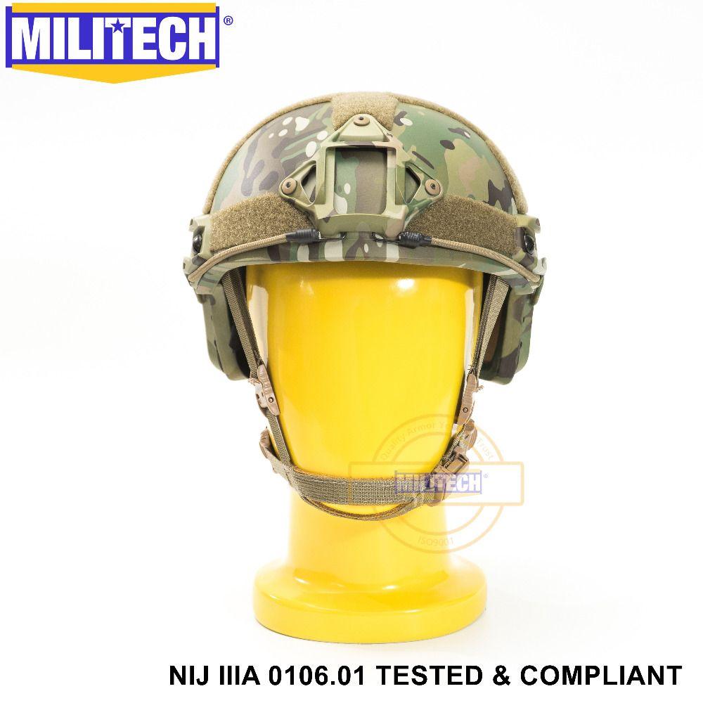 ISO Certified MILITECH MC OCC Dial NIJ Level IIIA 3A FAST High Cut Bulletproof Aramid Ballistic Helmet With 5 Years Warranty