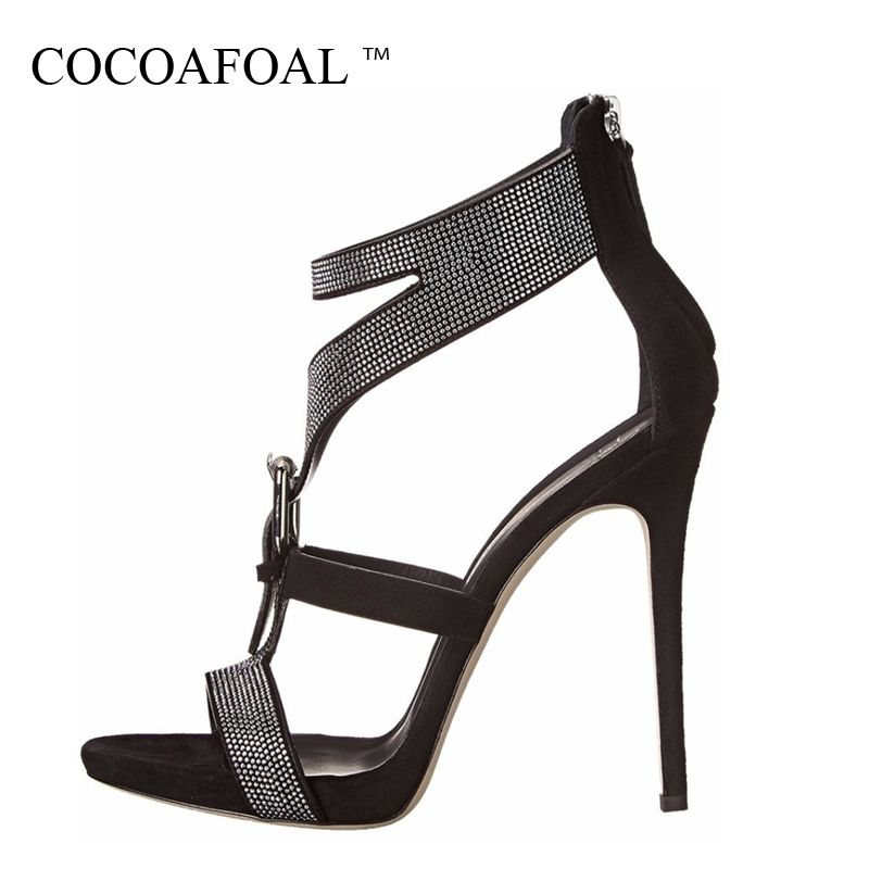 COCOAFOAL Women Peep Toe Rhinestone Sandals Plus Size 43 High Heels Sandals Sexy Black White Crystal Summer Pole Dance Pumps
