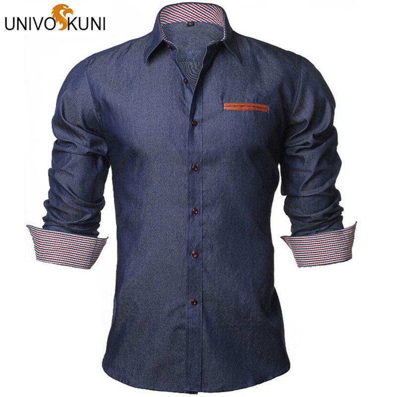 Univos куни Для мужчин рубашка Джинсовые рубашки Повседневное с длинным рукавом мода Slim Fit Бизнес Camisa Джинсы для женщин мужской ЕС Размеры S-XXL ...