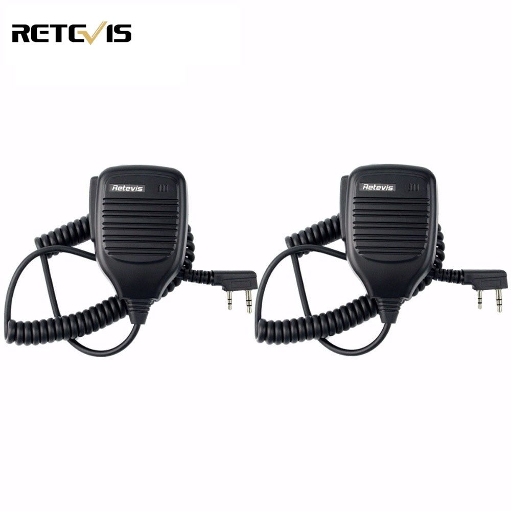 2pcs PTT Speaker Microphone Accessories For Kenwood Baofeng UV-5R Baofeng BF-888s Retevis H777 RT3 RT22 TYT Walkie Talkie C9001A