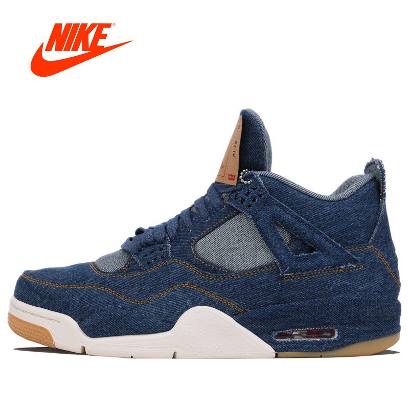 Original Nike Air Jordan 4 AJ4 Men's Denim Basketball Shoes Sports Outdoor for Spring 2018 NIKE Sneakers for Men AO2571-401