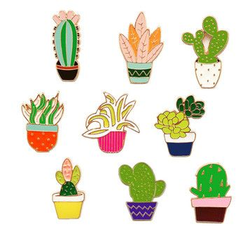 Cactus enamel pin brooch set Succulent Potted metal Pins Sets dress hat bag Colorful Broches women Plants Badge summer brooches