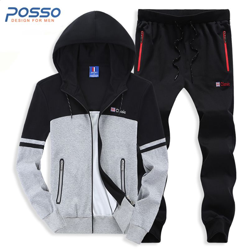 Tracksuit for men 100% cotton hoodies 2pcs suit men's hoodies cotton casual hoodies outwear suit joggers sweatpants