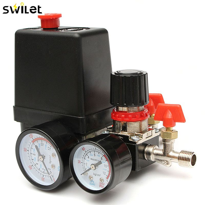 30-120PSI Air Compressor Pressure Valve Switch Manifold Relief Regulator Gauges 240V 20A
