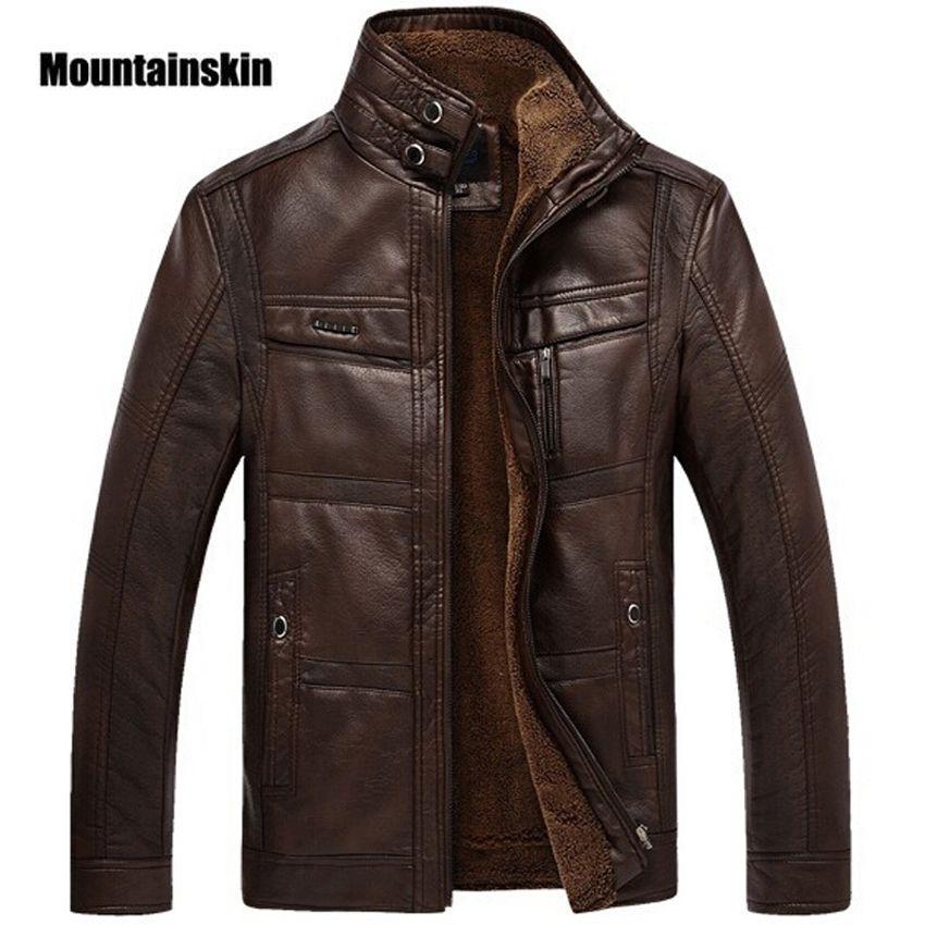 Mountainskin Leather Jacket Men Coats 5XL Brand High Quality PU Outerwear Men Business Winter Faux Fur Male Jacket Fleece EDA113