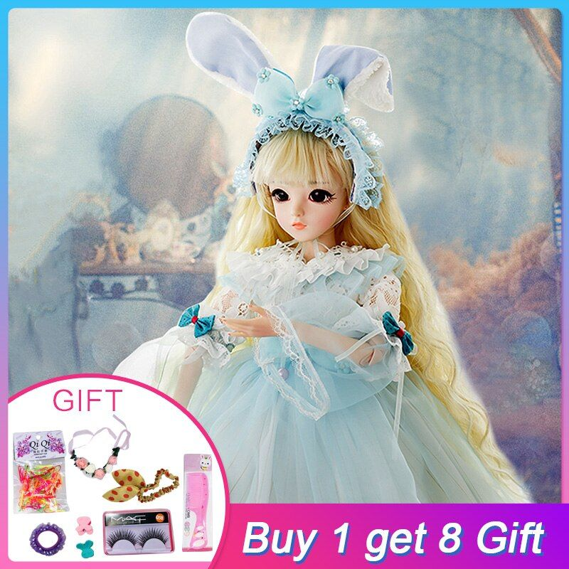 UCanaan 1/3 BJD Dolls SD Doll With Rabbit Outfit Elegant Dress Wigs Shose Makeup Beautiful Toys for Girls Dolls 60CM