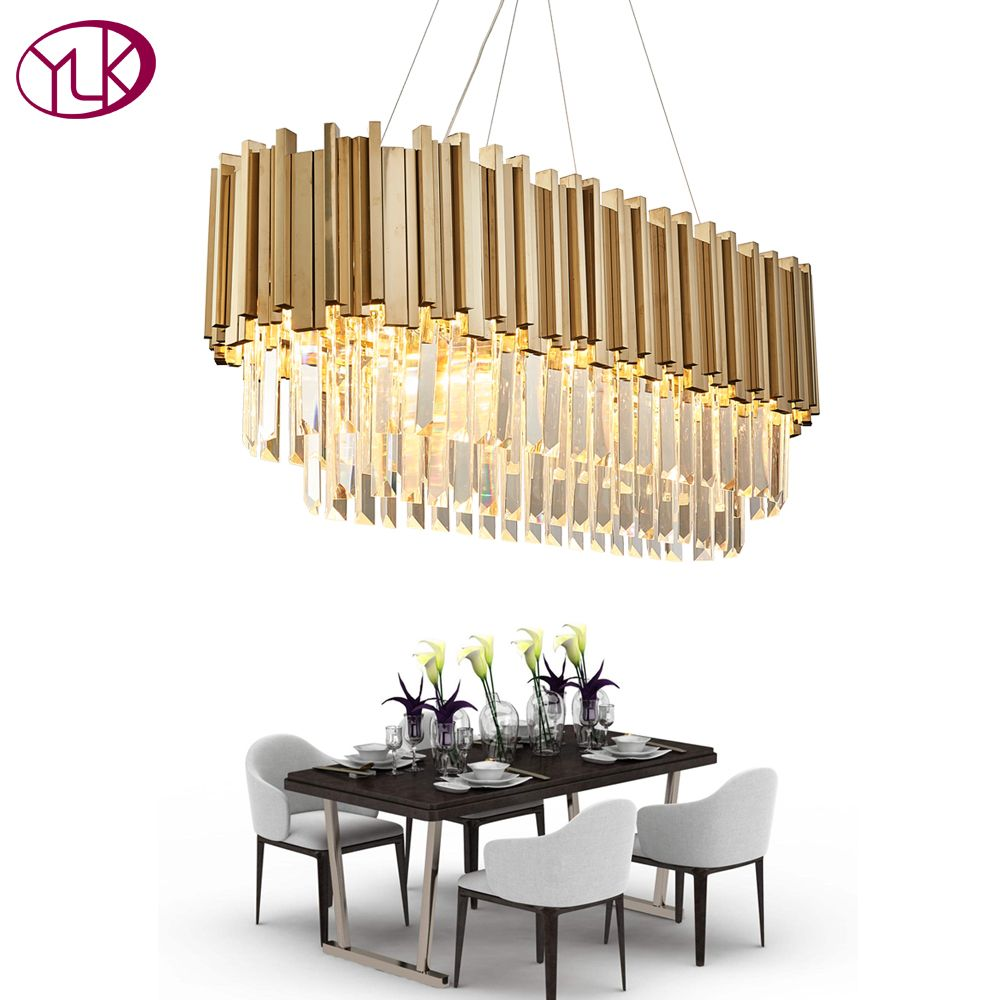 Youlaike Luxury Modern Crystal Chandelier For Dining Room Rectangle Luxury Living Room Hanging Gold LED Crystal Lamps