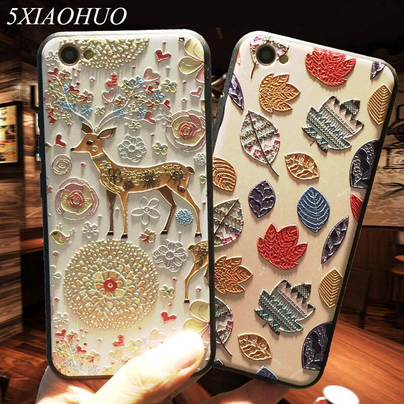 5XIAOHUO New 3D Stereo Relief Phone Case For Apple iphone 6 case Fashion Pattern For iphone 6 6S 7 Plus case
