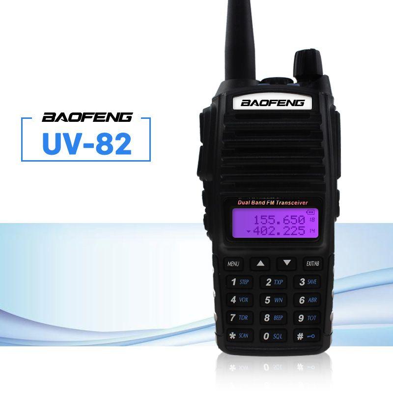 Baofeng UV-82 Talkie Walkie 5 w Double PTT 137-174/400-520 mhz UV 82 Jambon Amateur Portable Deux way Radio Station Pour La Chasse Tracker