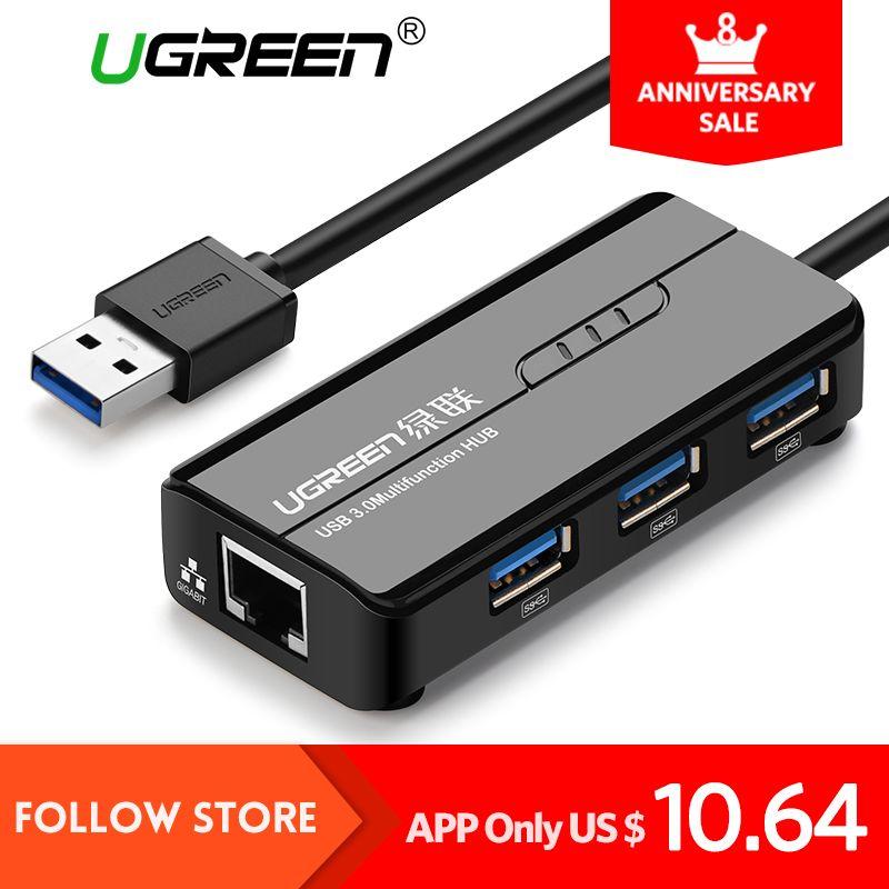 Ugreen USB Ethernet for Windows 10 Xiaomi Mi Box 3 Android TV Set-top Box USB 3.0 2.0 HUB to RJ45 Lan Adapter Network Card