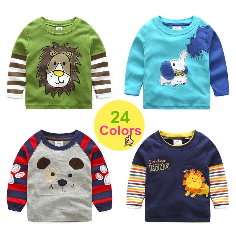 2018 Spring Autumn For 2-8 9 10 Years Children Cotton Striped Color Patchwork Cartoon Animal Baby Kids Boys Long Sleeve T-Shirts