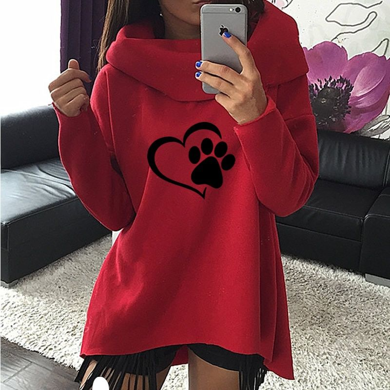 2019 New Fashion Heart Cat or Dog Pat Print Pattern Clothes Women Hoodies Scarf Collar Casual Sweatshirts Pullovers for Female
