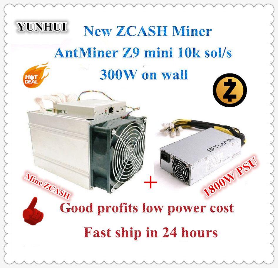 Schiff in 24 stunden Antminer Z9 Mini 10 karat Sol/s 300 watt Mit BITMAIN APW7 1800 watt netzteil asic Equihash Miner Bergwerk ZEN ZEC BTG gute gewinn