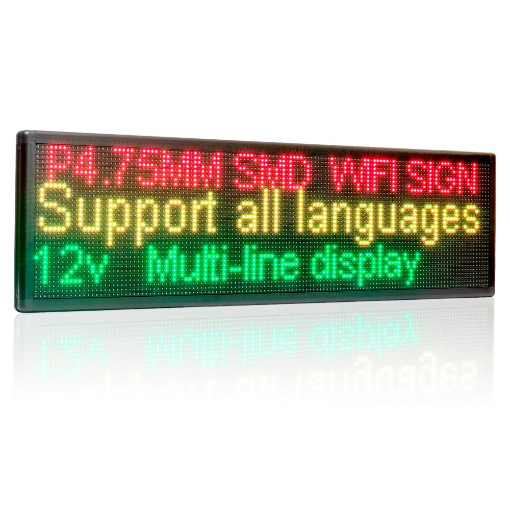 12V 220V 63cm Wifi LED Signs Side window Programmable Two lines Shop LED message display board Perfect solution for advertising