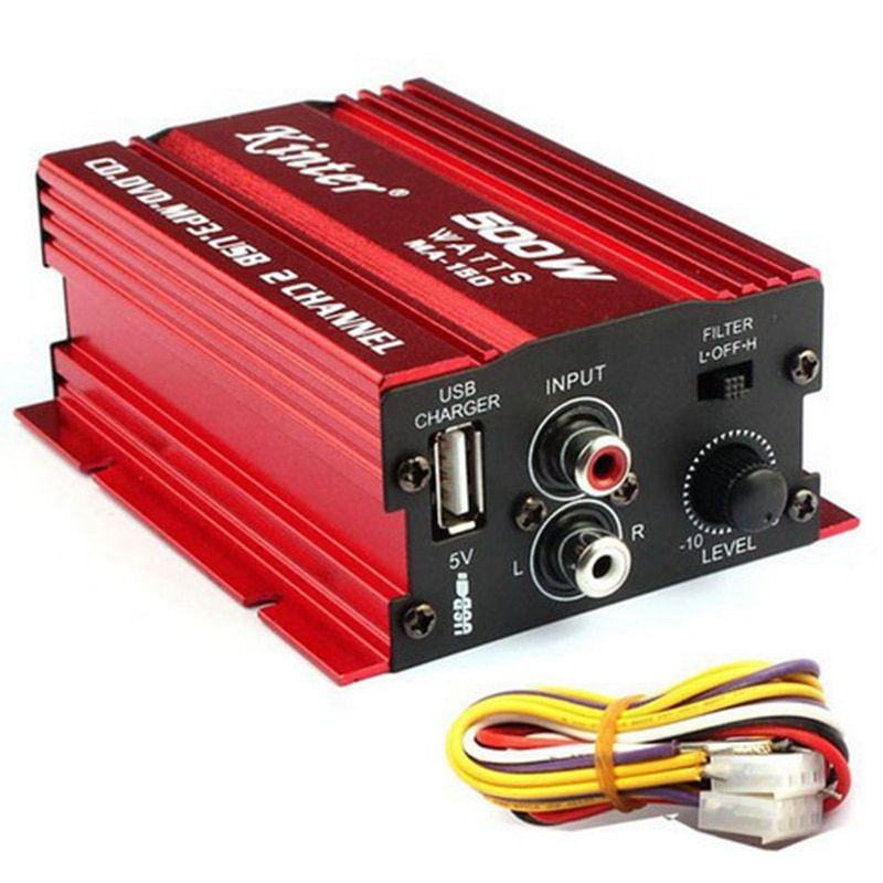 12V 500W 2 Channel Car Audio Power Amplifier Aluminium Alloy Car Speaker Amplified with USB Charger for HiFi Stereo CD DVD MP3
