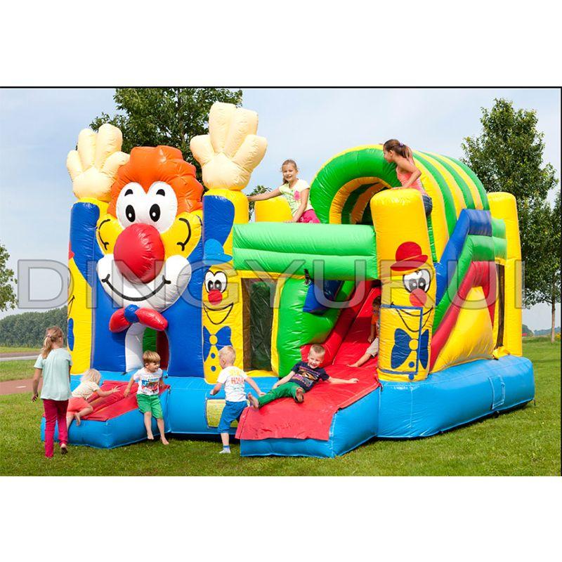 Outdoor kommerziellen clown aufblasbarer prahler haus china aufblasbare rutsche in rutsche combo für kinder