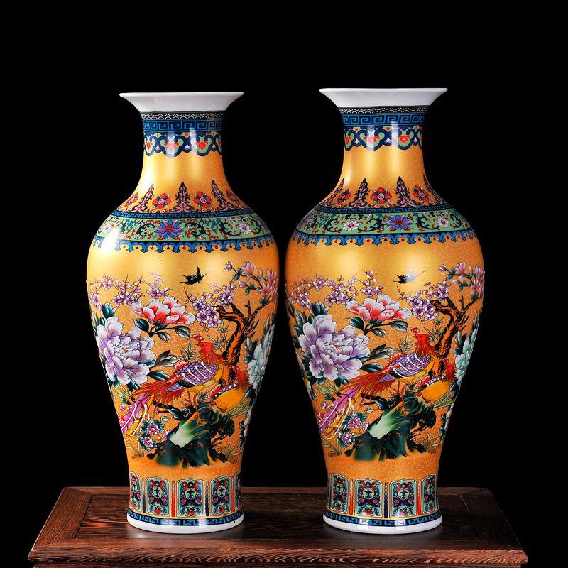 Luxus Jingdezhen Antiken Emaille Fischschwanz Form Vase Klassische Dekoration Große Chinesische Vasen Alten Palast Vasen