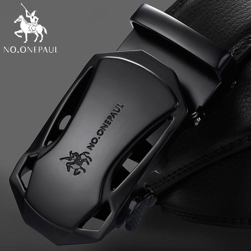 NO. ONEPAUL marque de mode automatique boucle noir en cuir véritable ceinture hommes ceintures en cuir de vache ceintures pour hommes 3.5 cm largeur WQE789