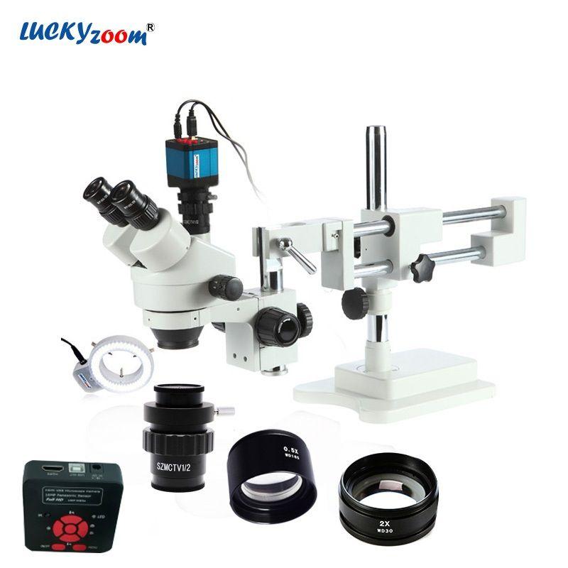 Glück Zoom Marke 3.5X-90X Stereo Trinocular Mikroskop Boom Stand 16MP HDMI USB Mikroskop Kamera 144 LED Ring Licht zubehör