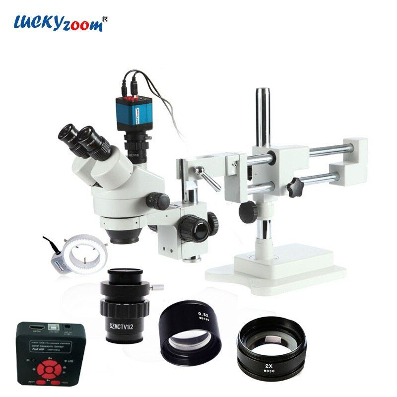 Lucky Zoom Brand 3.5X-90X Stereo Trinocular Microscope Boom Stand 16MP HDMI USB Microscope Camera 144 LED Ring Light Accessories