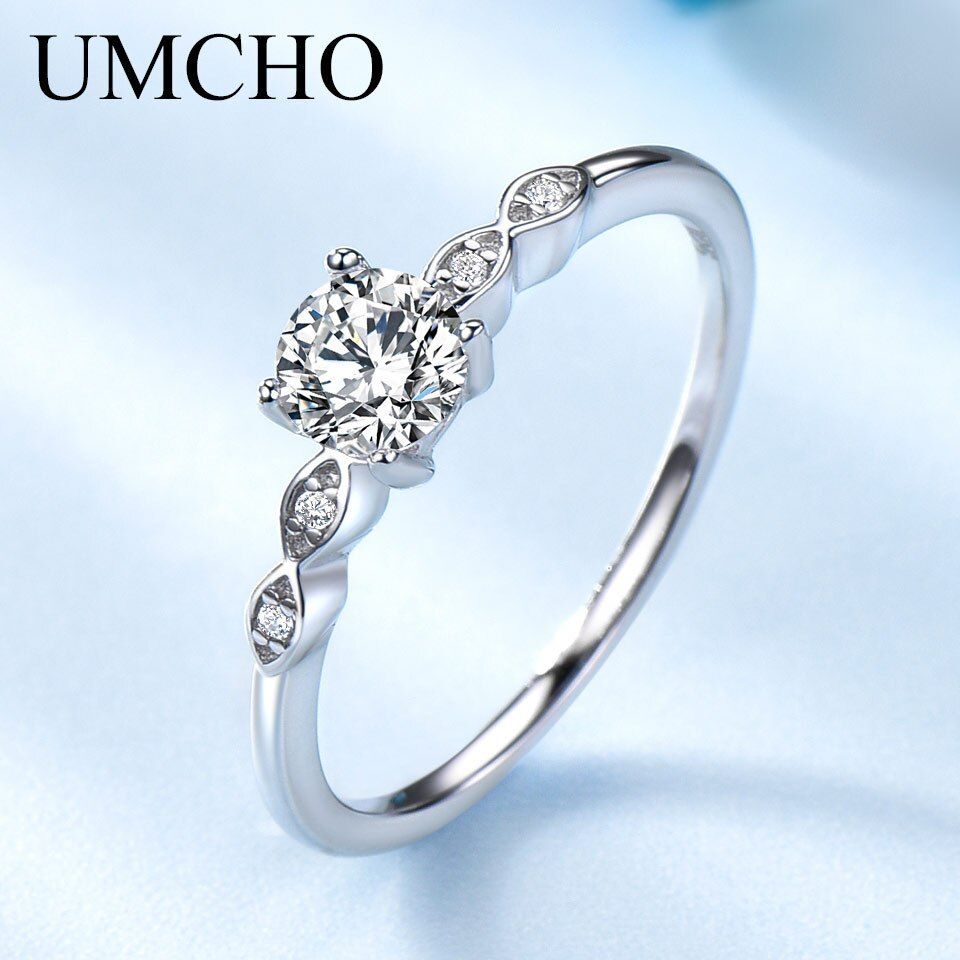 UMCHO Silver 925 Jewelry Luxury Bridal Cubic Zirconia Rings For Women Solitaire Engagement <font><b>Wedding</b></font> Party Brand Fine Jewelry