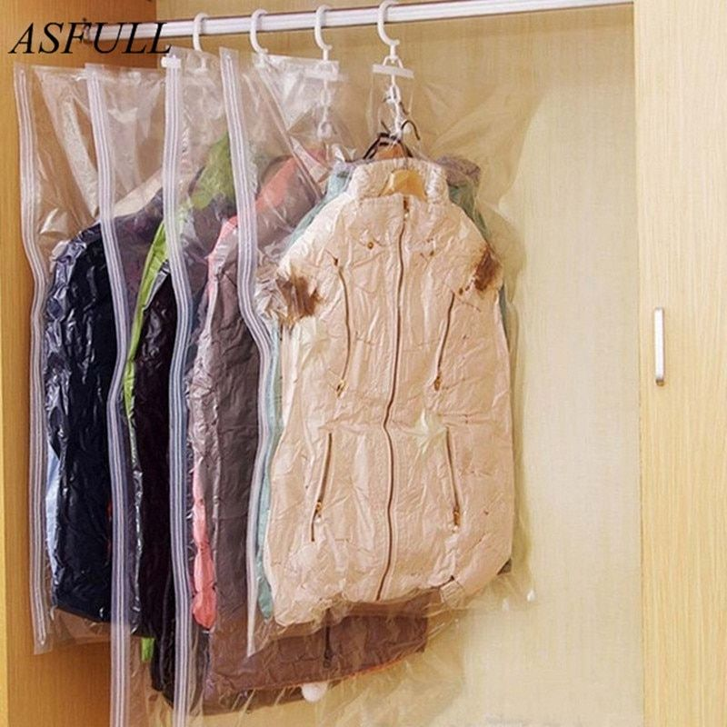 ASFULL Can Hang Compression Bag Vacuum For Foldable Clothes Transparent Edge Sealed Bags To Save Organizer Space free shipping
