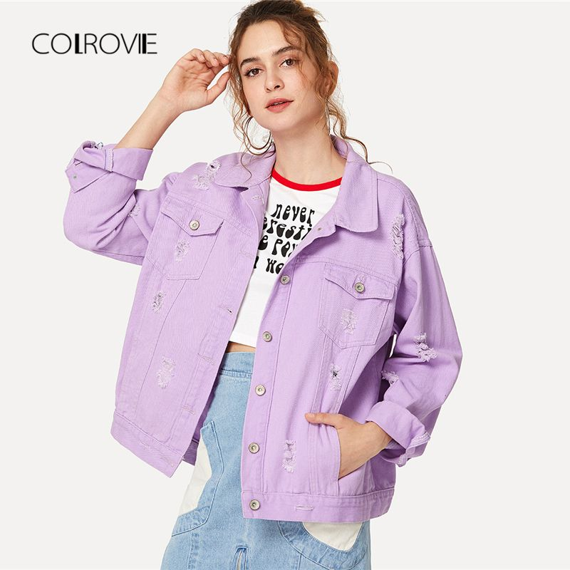 COLROVIE Ripped Drop Shoulder Women Denim Jackets 2018 Fall Oversize Purple Casual Female Jacket Coat Chic Jacket for Girls