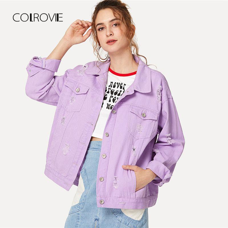 COLROVIE Ripped Drop Shoulder Women Denim Jackets 2018 Fall Oversize Purple Casual Female Jacket Coat Chic Jacket for Girls