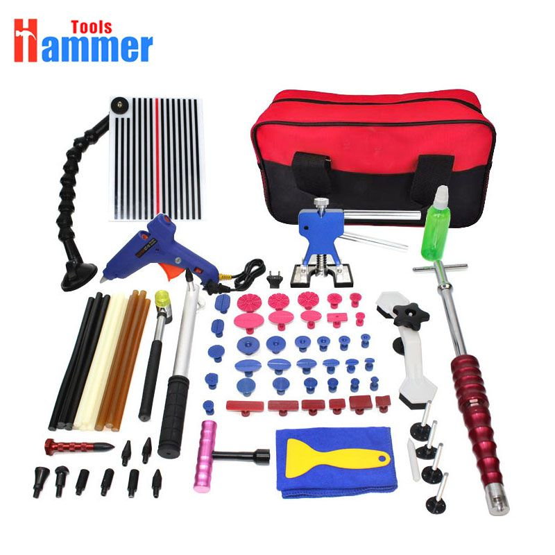 PDR Tools Kit Paintless Dent Repair Tool Set for Car body dent removal tools set Glue sticks Glue Gun hand Tools Bag
