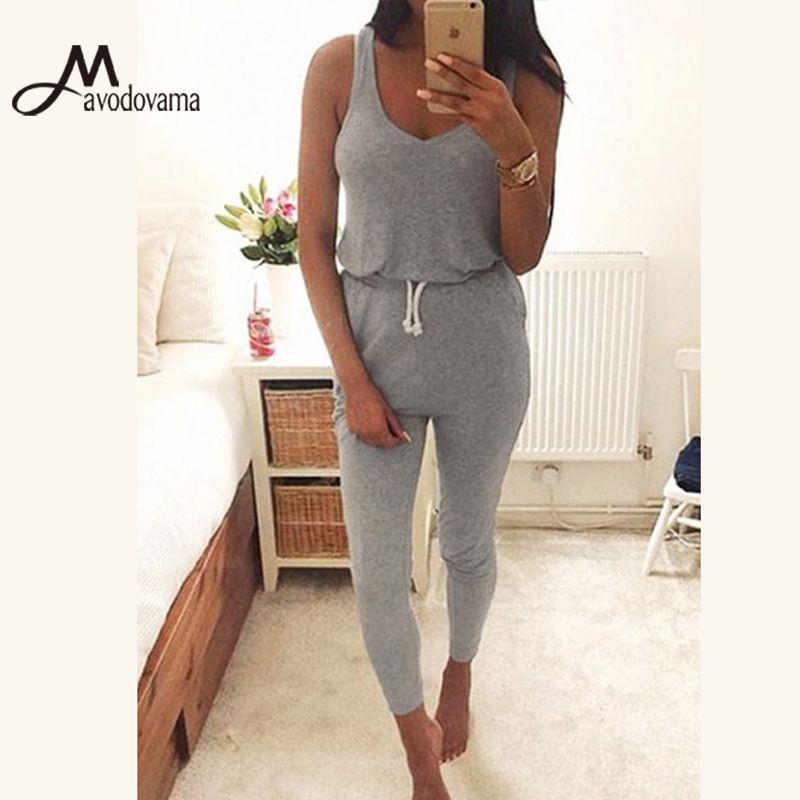Mavodovama Casual Summer Fashion Women Romper Sexy Vest Sleeveless Slim Waist Overalls Jumpsuit