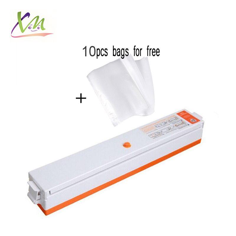 Alimentaire Machine d'emballage sous vide d'étanchéité pack scellant paquet sac packer joint vide vacuator ménage appareils inclus 10 pcs sacs