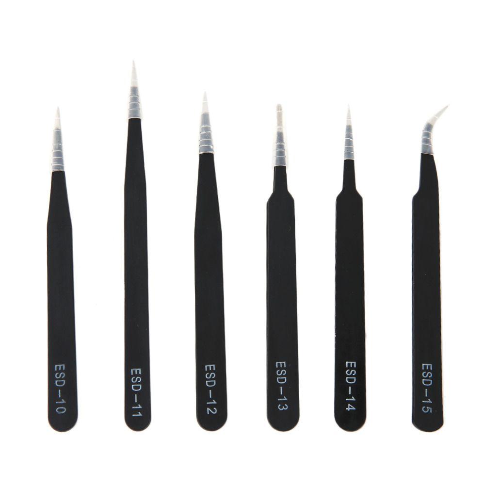2016 neueste 6 teile/satz Tragbare Größe Korrosionsbeständig antistatische Pinzette Für Reparatur Elektronische Wartung Werkzeuge Schwarz
