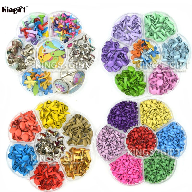 Assorted Color Metal Brads For Scrapbooking, Painting Brads For DIY Album Decor., Scrapbook Embellishment Brads Collections