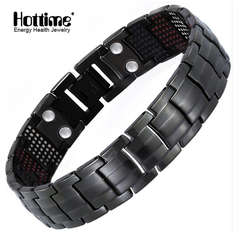Hottime 591 pièces énergie pierre titane acier Bracelets magnétiques & Bracelets noir pistolet plaqué Germanium Bracelet mode hommes bijoux