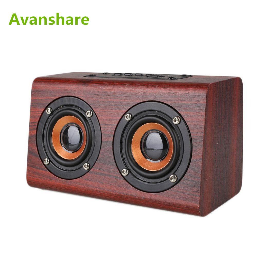 Haut-parleur Bluetooth en bois Avanshare rétro bois HIFI 3D double haut-parleurs haut-parleur sans fil Bluetooth avec carte TF mains libres AUX