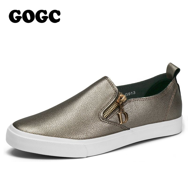 GOGC 2017 Autumn Breathable Leather Woman Flats Moccasins Comfortable Woman Shoes Sneakers Flat Shoes Women New Woman Slipony