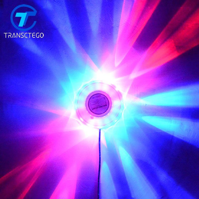 TRANSCTEGO Mini Laser Disco Stade Lumière 48 Led RGB Projecteur Éclairage Tournesol Bar DJ Son Fond Appliques Murales Partie Lampe
