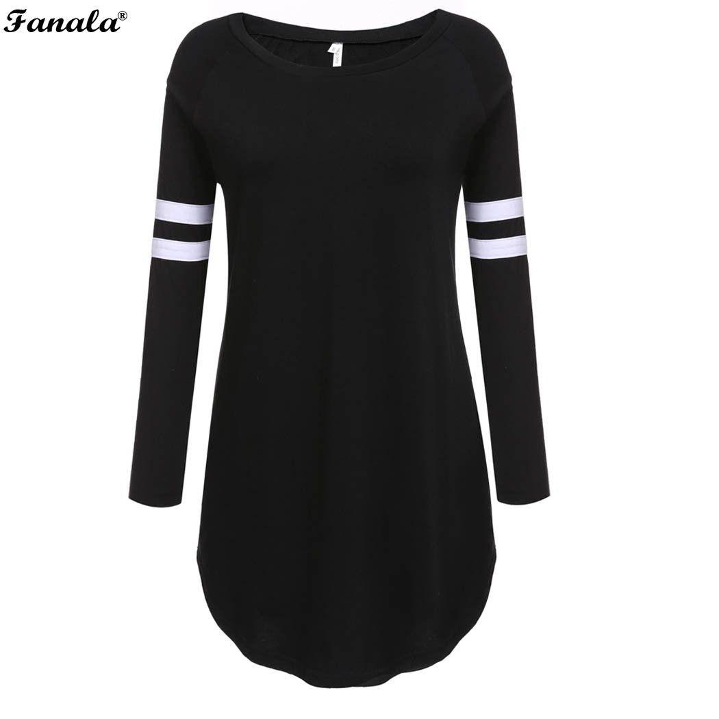 Primavera Otoño Mujeres Camisetas Del O-cuello de Manga Larga Dobladillo Irregular Largo Femenino de Béisbol Gris Negro Camisetas de Las Mujeres Tops