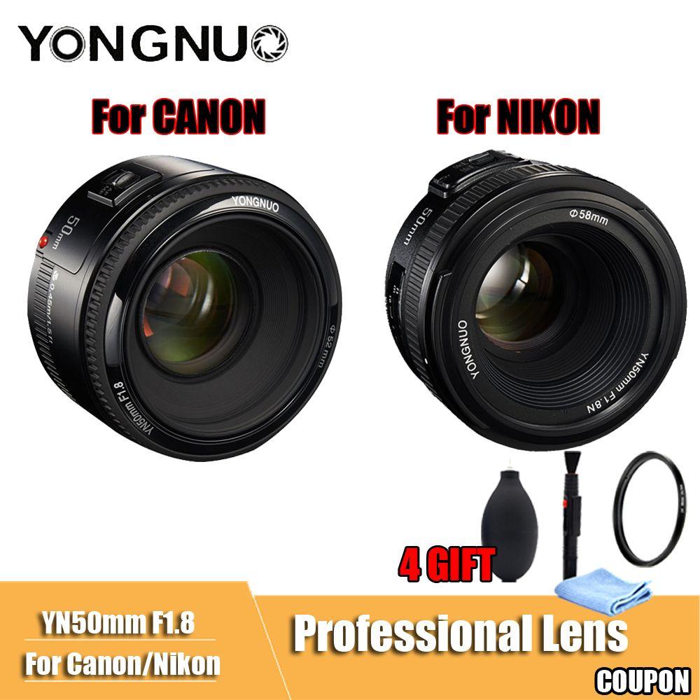 YONGNUO YN50mm Lens F1.8 Large Aperture Auto Focus YONGNUO DSLR Camera Lens For canon For Nikon D800 D300 D700 D3200 D3300 D5100