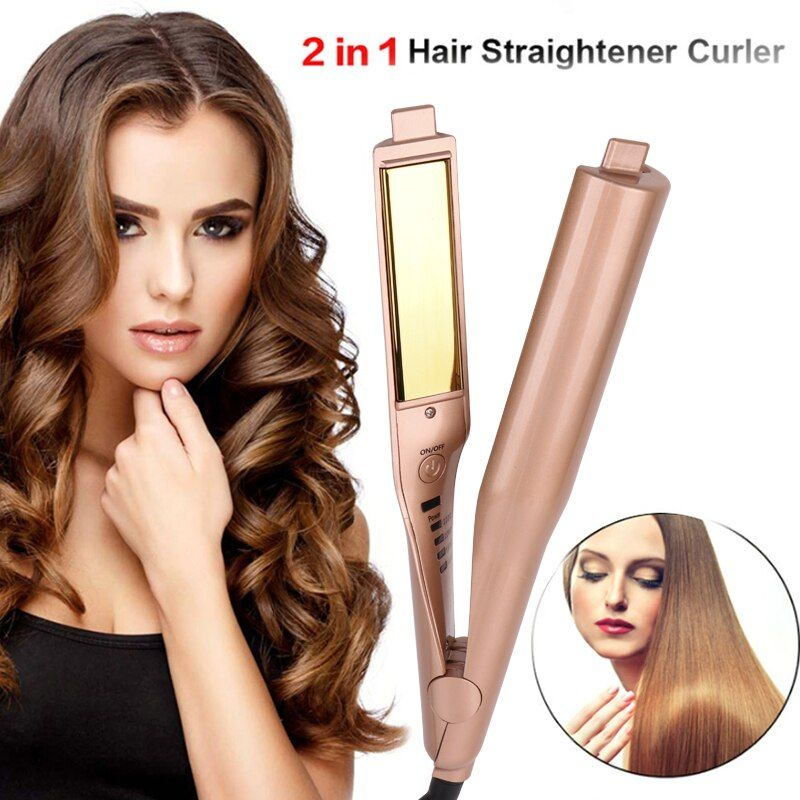 Gold 2 in 1 Straightening Iron Hair Curler Curling Iron Professional Hair Curler Salon Quality Hair Curling Straightening Iron