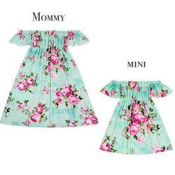 Ibu Putri Matching Pakaian Formal Maxi Panjang Dress Pakaian Ibu Anak Parent