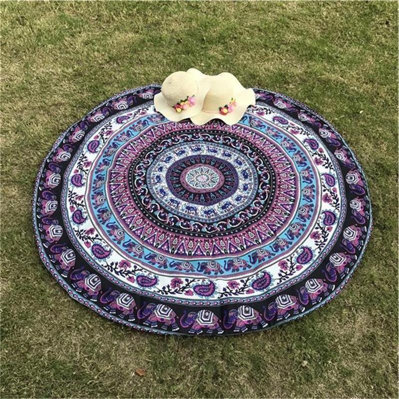 Indian Elephant Type Round Mat Scarve Fashion Mandala Tapestry Beach Mat Picnic Throw Rug Blanket Bohemia Grassplot Mat