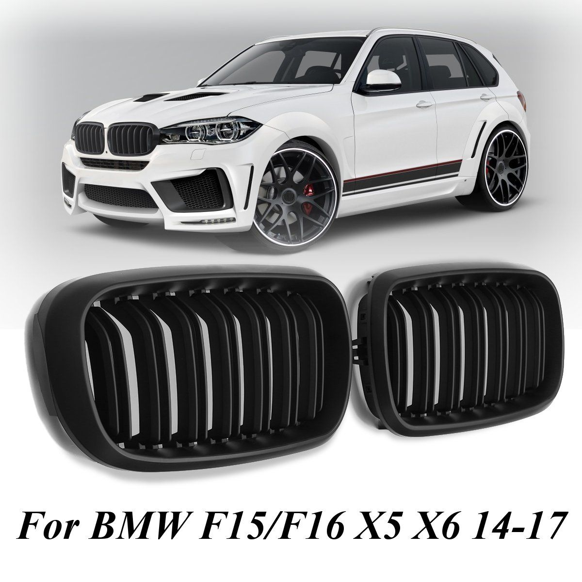 Pair New Matte Black Double Slat Front Grill Grille For BMW F15/F16 X5 X6 2014-2017