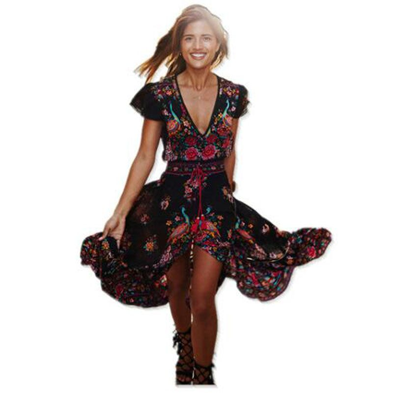 2019 été Boho Robe ethnique Sexy imprimé rétro Vintage Robe gland plage Robe bohème Robe vintage Vestidos Hippie Robe